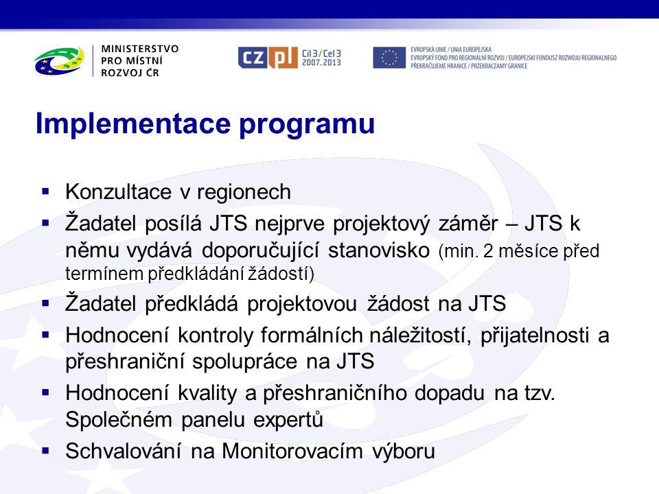 Implementace programu  Konzultace v regionech  Žadatel posílá JTS nejprve projektový záměr – JTS k němu vydává doporučující stanovisko (min. 2 měsíc