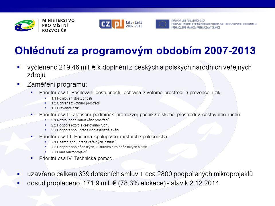 Ohlédnutí za programovým obdobím 2007-2013  vyčleněno 219,46 mil. € k doplnění z českých a polských národních veřejných zdrojů  Zaměření programu: 