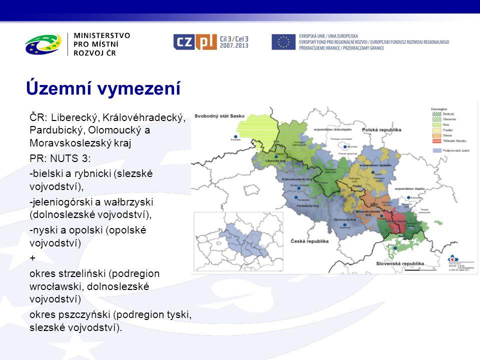 Územní vymezení ČR: Liberecký, Královéhradecký, Pardubický, Olomoucký a Moravskoslezský kraj PR: NUTS 3: -bielski a rybnicki (slezské vojvodství), -je