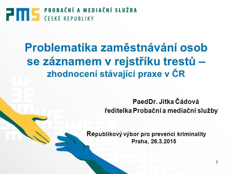 Problematika zaměstnávání osob se záznamem v rejstříku trestů – zhodnocení stávající praxe v ČR PaedDr. Jitka Čádová ředitelka Probační a mediační slu