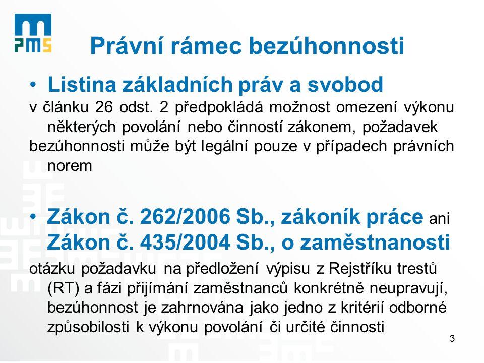Právní rámec bezúhonnosti Listina základních práv a svobod v článku 26 odst. 2 předpokládá možnost omezení výkonu některých povolání nebo činností zák