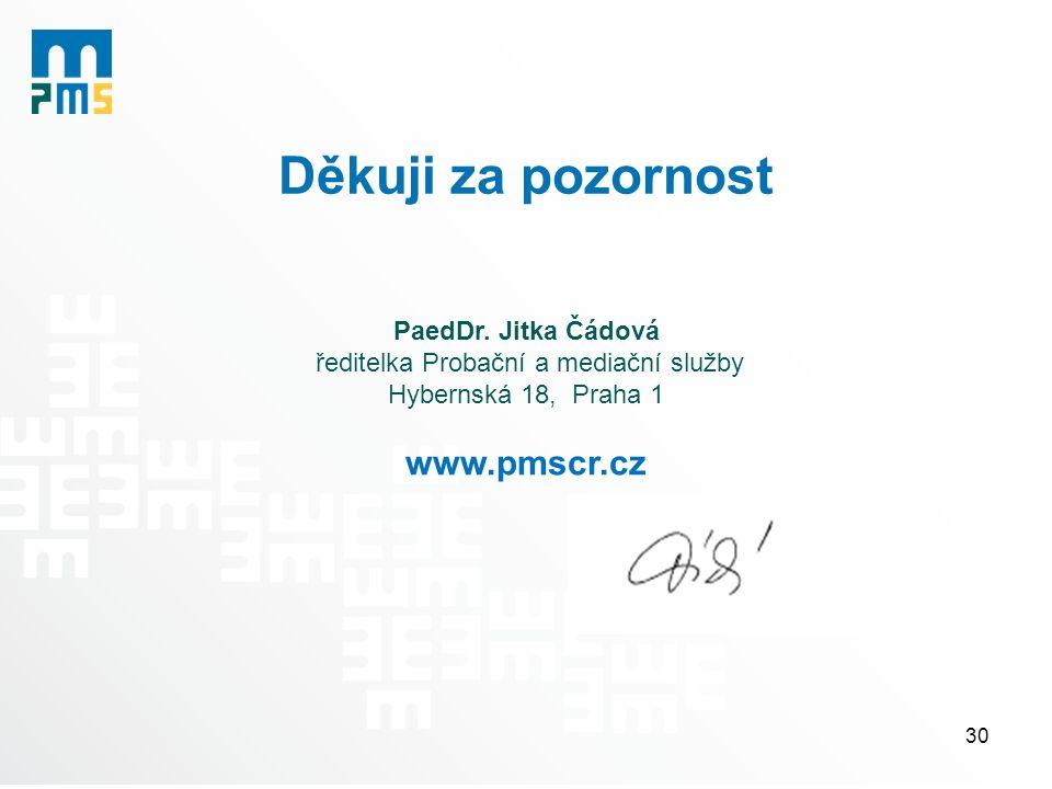 Děkuji za pozornost PaedDr. Jitka Čádová ředitelka Probační a mediační služby Hybernská 18, Praha 1 www.pmscr.cz 30