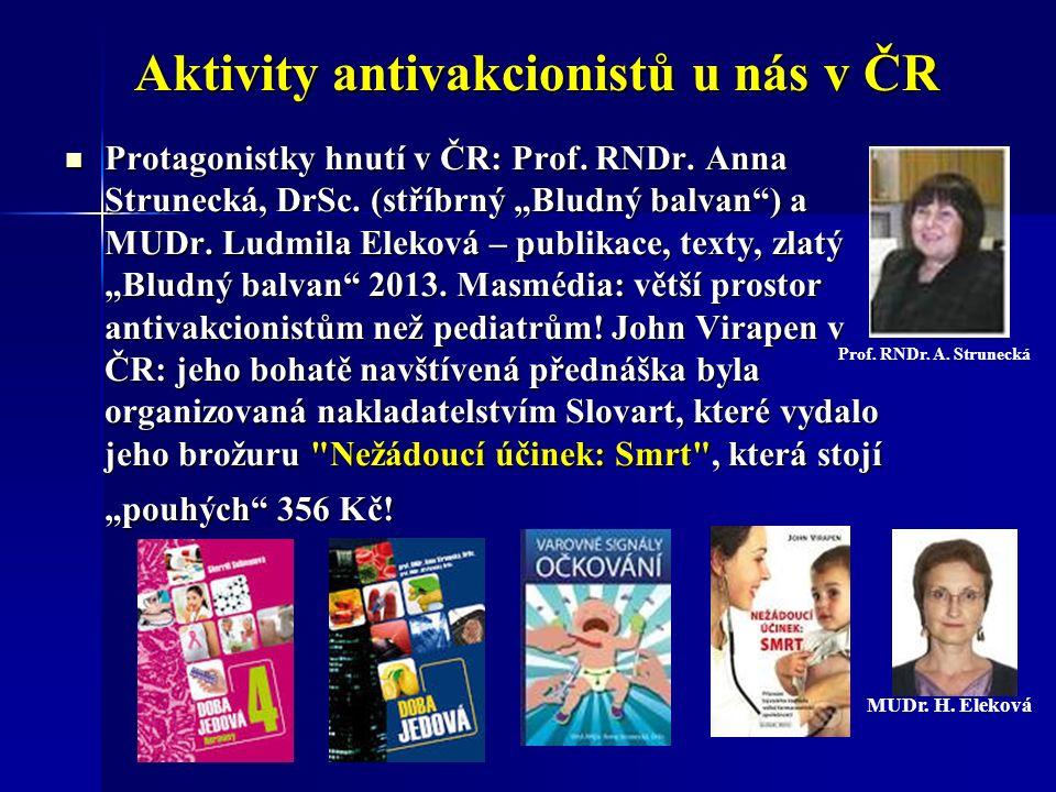 Aktivity antivakcionistů u nás v ČR Protagonistky hnutí v ČR: Prof.