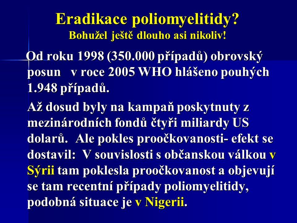Eradikace poliomyelitidy. Bohužel ještě dlouho asi nikoliv.