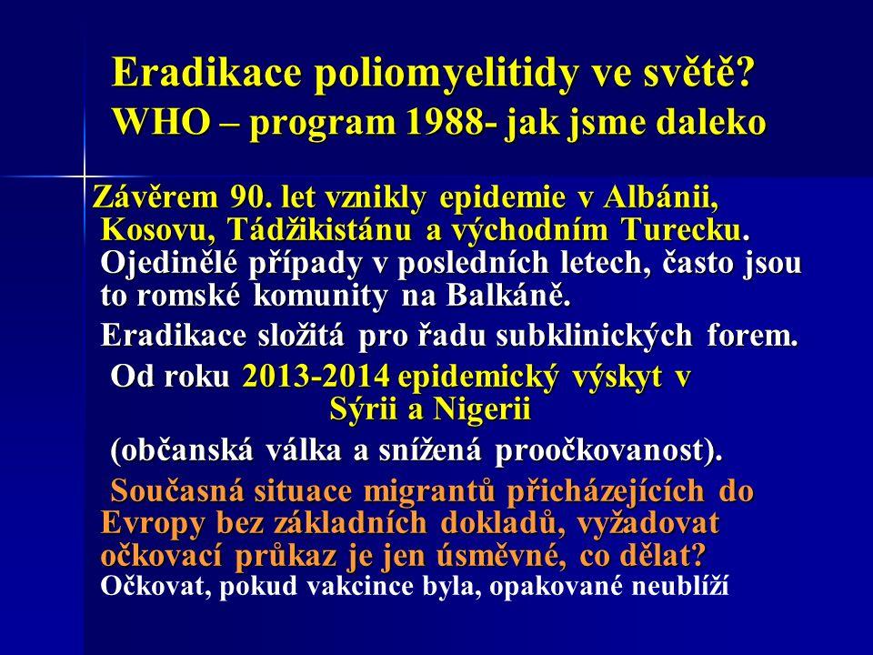 Eradikace poliomyelitidy ve světě. WHO – program 1988- jak jsme daleko Závěrem 90.