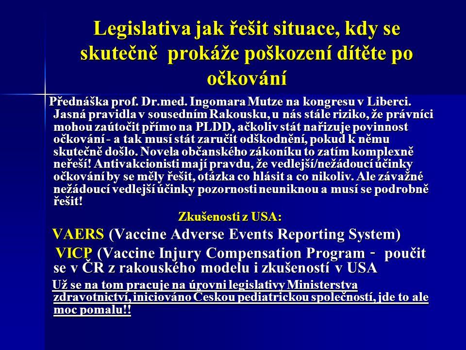 Legislativa jak řešit situace, kdy se skutečně prokáže poškození dítěte po očkování Přednáška prof.