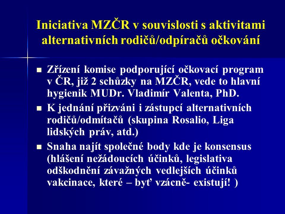 Iniciativa MZČR v souvislosti s aktivitami alternativních rodičů/odpíračů očkování Zřízení komise podporující očkovací program v ČR, již 2 schůzky na MZČR, vede to hlavní hygienik MUDr.