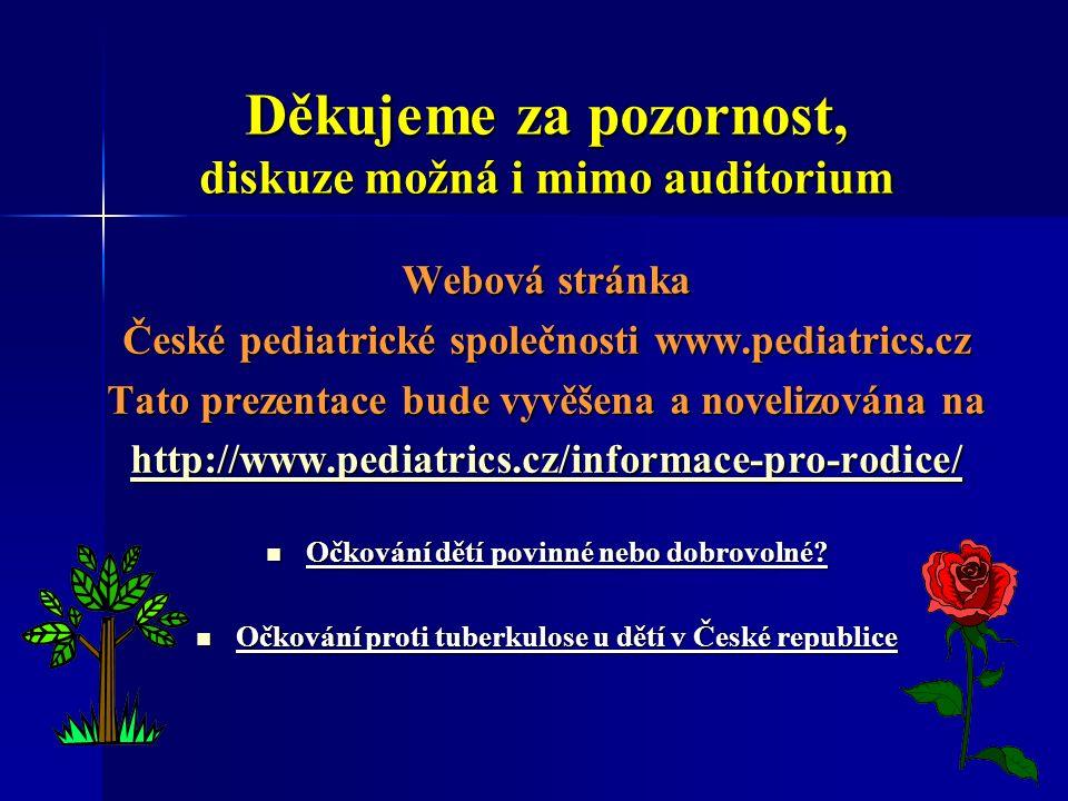 Děkujeme za pozornost, diskuze možná i mimo auditorium Webová stránka České pediatrické společnosti www.pediatrics.cz Tato prezentace bude vyvěšena a novelizována na http://www.pediatrics.cz/informace-pro-rodice/ Očkování dětí povinné nebo dobrovolné.
