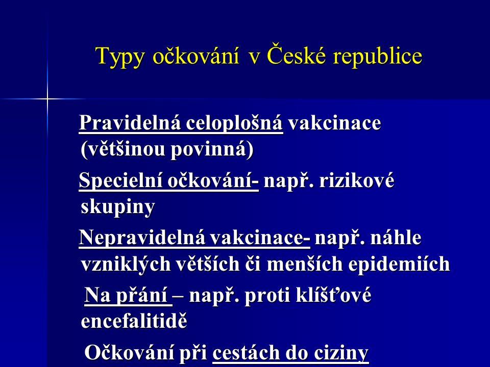 Typy očkování v České republice Pravidelná celoplošná vakcinace (většinou povinná) Pravidelná celoplošná vakcinace (většinou povinná) Specielní očkování- např.