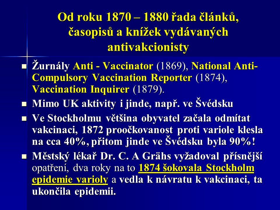 Od roku 1870 – 1880 řada článků, časopisů a knížek vydávaných antivakcionisty Žurnály Anti - Vaccinator (1869), National Anti- Compulsory Vaccination Reporter (1874), Vaccination Inquirer (1879).