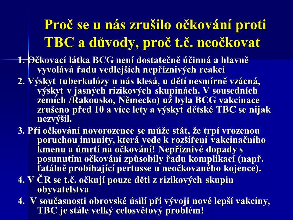 Proč se u nás zrušilo očkování proti TBC a důvody, proč t.č.