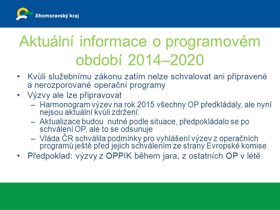 Aktuální informace o programovém období 2014–2020 Kvůli služebnímu zákonu zatím nelze schvalovat ani připravené a nerozporované operační programy Výzvy ale lze připravovat –Harmonogram výzev na rok 2015 všechny OP předkládaly, ale nyní nejsou aktuální kvůli zdržení.
