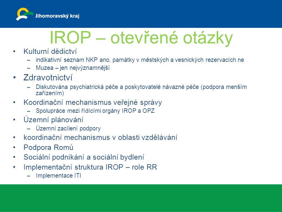 IROP – otevřené otázky Kulturní dědictví –indikativní seznam NKP ano, památky v městských a vesnických rezervacích ne –Muzea – jen nejvýznamnější Zdravotnictví –Diskutována psychiatrická péče a poskytovatelé návazné péče (podpora menším zařízením) Koordinační mechanismus veřejné správy –Spolupráce mezi řídícími orgány IROP a OPZ Územní plánování –Územní zacílení podpory koordinační mechanismus v oblasti vzdělávání Podpora Romů Sociální podnikání a sociální bydlení Implementační struktura IROP – role RR –Implementace ITI