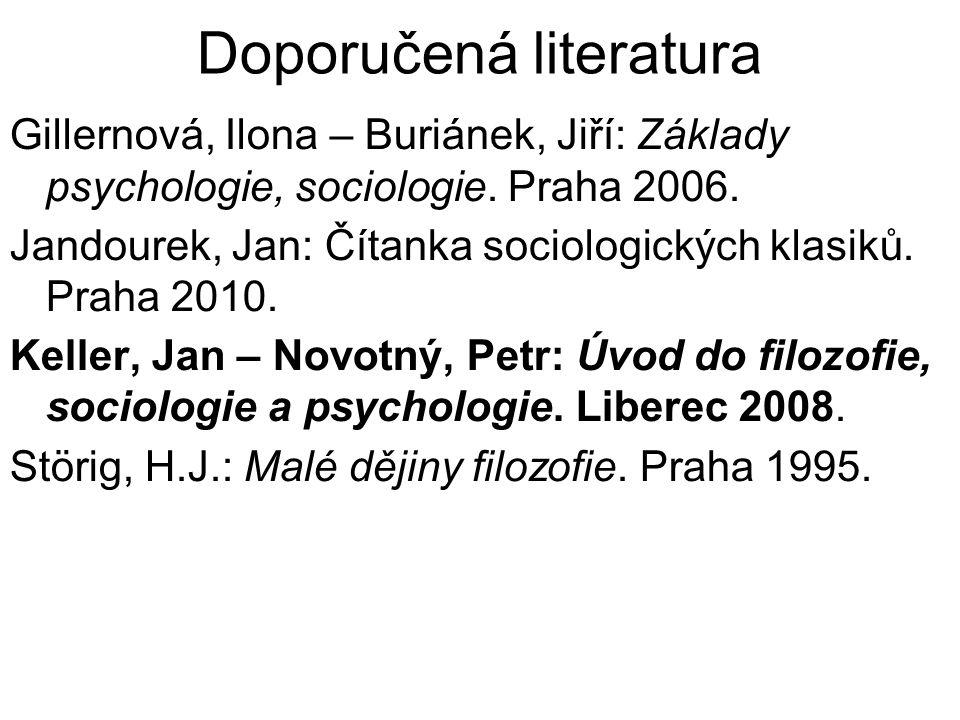 Doporučená literatura Gillernová, Ilona – Buriánek, Jiří: Základy psychologie, sociologie. Praha 2006. Jandourek, Jan: Čítanka sociologických klasiků.