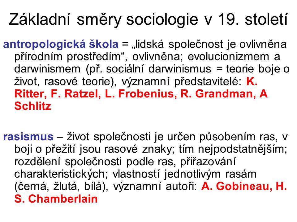 """Základní směry sociologie v 19. století antropologická škola = """"lidská společnost je ovlivněna přírodním prostředím"""", ovlivněna; evolucionizmem a darw"""