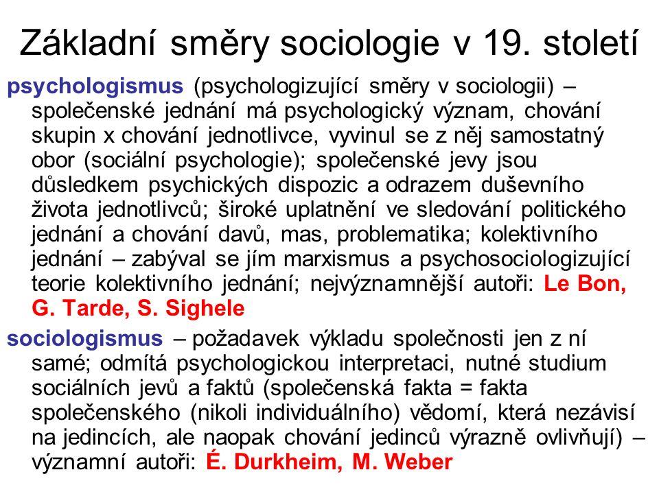 Základní směry sociologie v 19. století psychologismus (psychologizující směry v sociologii) – společenské jednání má psychologický význam, chování sk