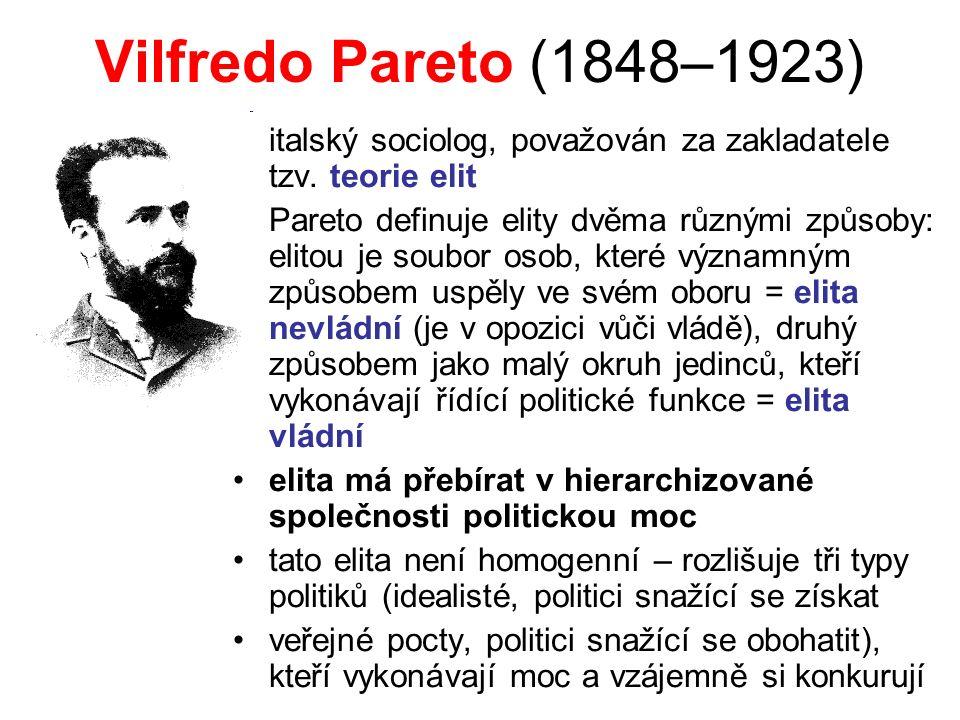 Vilfredo Pareto (1848–1923) italský sociolog, považován za zakladatele tzv. teorie elit Pareto definuje elity dvěma různými způsoby: elitou je soubor