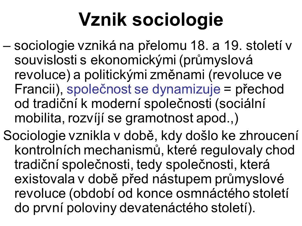 Vznik sociologie – sociologie vzniká na přelomu 18. a 19. století v souvislosti s ekonomickými (průmyslová revoluce) a politickými změnami (revoluce v