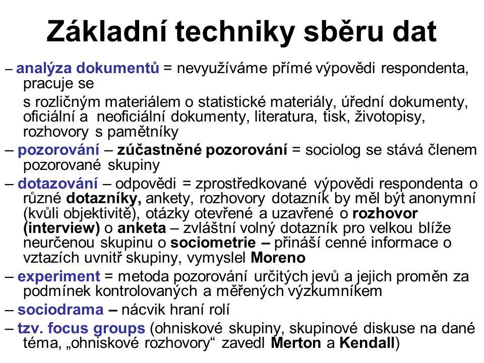 Základní techniky sběru dat – analýza dokumentů = nevyužíváme přímé výpovědi respondenta, pracuje se s rozličným materiálem o statistické materiály, úřední dokumenty, oficiální a neoficiální dokumenty, literatura, tisk, životopisy, rozhovory s pamětníky – pozorování – zúčastněné pozorování = sociolog se stává členem pozorované skupiny – dotazování – odpovědi = zprostředkované výpovědi respondenta o různé dotazníky, ankety, rozhovory dotazník by měl být anonymní (kvůli objektivitě), otázky otevřené a uzavřené o rozhovor (interview) o anketa – zvláštní volný dotazník pro velkou blíže neurčenou skupinu o sociometrie – přináší cenné informace o vztazích uvnitř skupiny, vymyslel Moreno – experiment = metoda pozorování určitých jevů a jejich proměn za podmínek kontrolovaných a měřených výzkumníkem – sociodrama – nácvik hraní rolí – tzv.