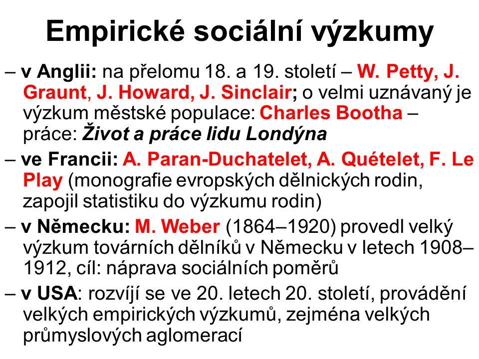 Empirické sociální výzkumy – v Anglii: na přelomu 18. a 19. století – W. Petty, J. Graunt, J. Howard, J. Sinclair; o velmi uznávaný je výzkum městské