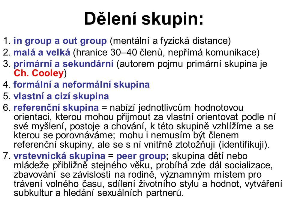 Dělení skupin: 1. in group a out group (mentální a fyzická distance) 2. malá a velká (hranice 30–40 členů, nepřímá komunikace) 3. primární a sekundárn