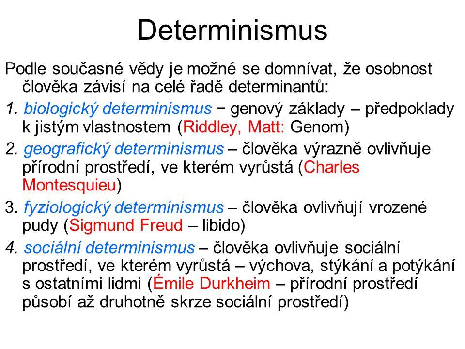 Determinismus Podle současné vědy je možné se domnívat, že osobnost člověka závisí na celé řadě determinantů: 1.