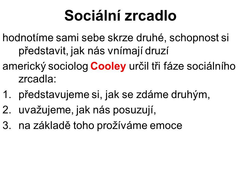 Sociální zrcadlo hodnotíme sami sebe skrze druhé, schopnost si představit, jak nás vnímají druzí americký sociolog Cooley určil tři fáze sociálního zr