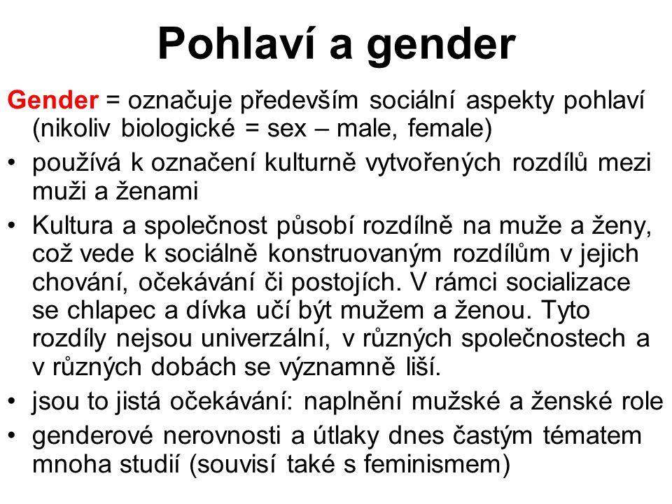 Pohlaví a gender Gender = označuje především sociální aspekty pohlaví (nikoliv biologické = sex – male, female) používá k označení kulturně vytvořenýc