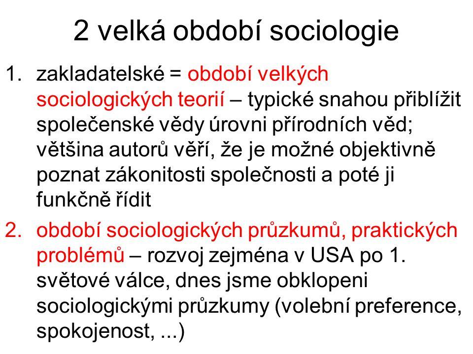 2 velká období sociologie 1.zakladatelské = období velkých sociologických teorií – typické snahou přiblížit společenské vědy úrovni přírodních věd; vě