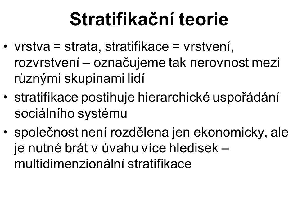 Stratifikační teorie vrstva = strata, stratifikace = vrstvení, rozvrstvení – označujeme tak nerovnost mezi různými skupinami lidí stratifikace postihuje hierarchické uspořádání sociálního systému společnost není rozdělena jen ekonomicky, ale je nutné brát v úvahu více hledisek – multidimenzionální stratifikace