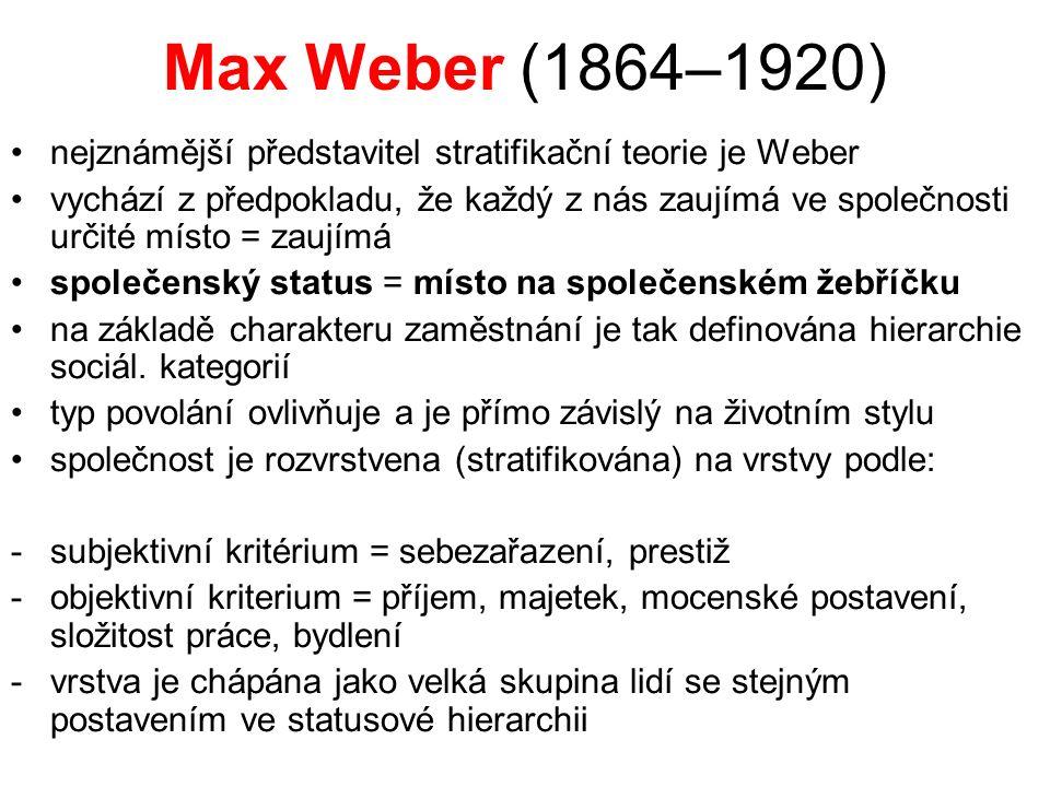 Max Weber (1864–1920) nejznámější představitel stratifikační teorie je Weber vychází z předpokladu, že každý z nás zaujímá ve společnosti určité místo = zaujímá společenský status = místo na společenském žebříčku na základě charakteru zaměstnání je tak definována hierarchie sociál.