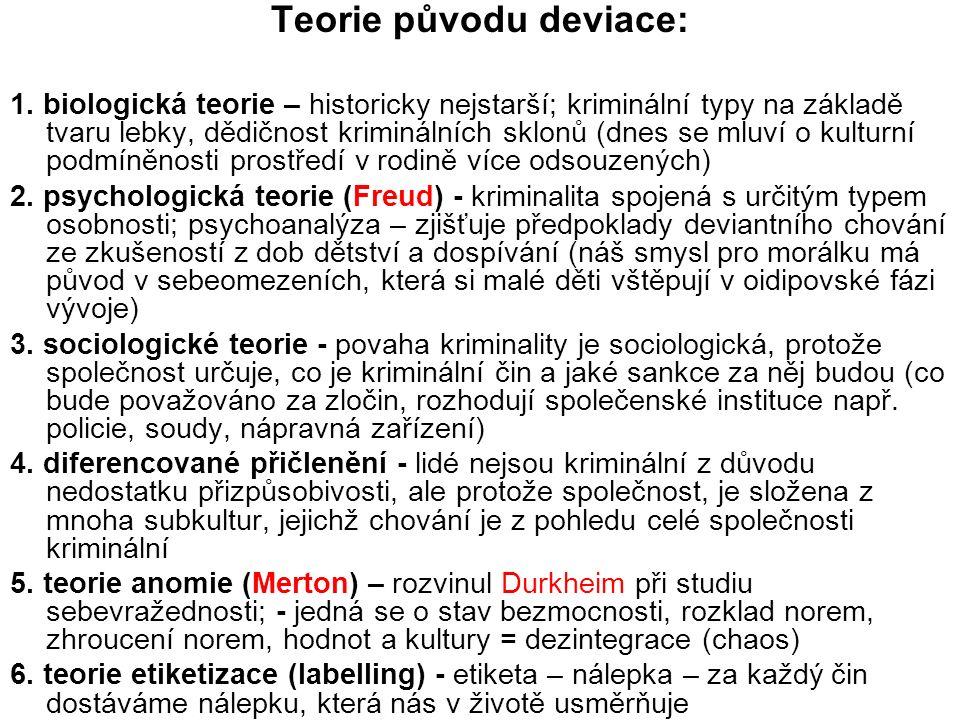 Teorie původu deviace: 1. biologická teorie – historicky nejstarší; kriminální typy na základě tvaru lebky, dědičnost kriminálních sklonů (dnes se mlu