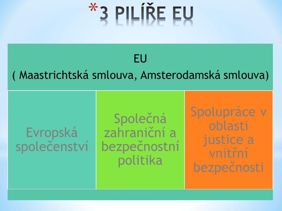 EU ( Maastrichtská smlouva, Amsterodamská smlouva) Evropská společenství Společná zahraniční a bezpečnostní politika Spolupráce v oblasti justice a vnitřní bezpečnosti