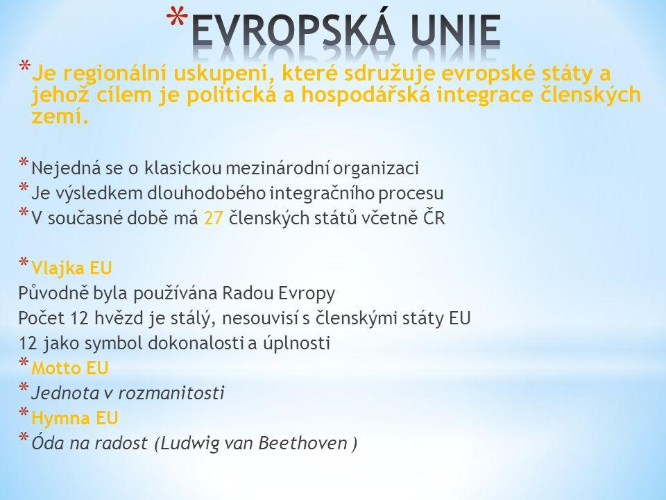 * Je regionální uskupení, které sdružuje evropské státy a jehož cílem je politická a hospodářská integrace členských zemí.