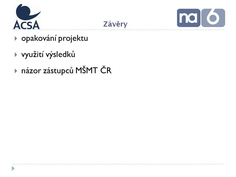  opakování projektu  využití výsledků  názor zástupců MŠMT ČR Záv ě ry