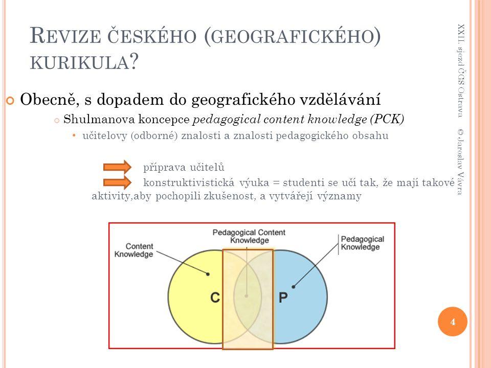 R OZVOJ MYŠLENÍ POMOCÍ GEOGRAFIE / GEOGRAFICKÉHO VZDĚLÁVÁNÍ ( ZDROJ : L AMBERT &B ALDERSTONE 2000, 308) a) nový pojmový slovník, který je následně použitý pro vznik formálních modelů b) vytvoření důvěry/jistoty (v konkrétní operační úrovni) při používání pojmového slovníku c) výběr relevantních verbálních nástrojů/metod d) vedení diskuse se žáky, která se vztahuje k: Toto se používá v úvodních hodinách, kde jde o uspořádaný úsudek kognitivní konflikt konstrukce do nové konstruktivní zóny aktivity Bridging přenesení nových koncepcí a vědomostních vzorců do dalšího kontextu testování a vytváření nových představ/konceptů v práci s novými kontexty Správně používané strategie Správné používání verbálních nástrojů/metod Navádí do dalších vědeckých oborů (transdisciplinarita?) Vede k plánování vyučovacích hodin, které mají charakter vědecké metodologie Výsledky a zkušenost použitelné pro celou třídu podílející se učitel podílející se student Aktivita pro malou skupinu / experimentování a rozhovor konstruktivní zóna aktivity Toto se používá tam, kde jsou studenti dotazováni tak, aby museli opustit stávající způsob myšlení metakognice (porovnání vlastních znalostí s novými znalostmi) Konkrétní příprava