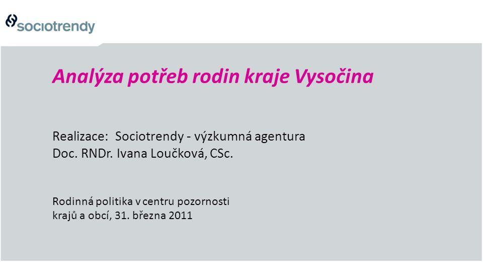 Analýza potřeb rodin kraje Vysočina Realizace: Sociotrendy - výzkumná agentura Doc. RNDr. Ivana Loučková, CSc. Rodinná politika v centru pozornosti kr