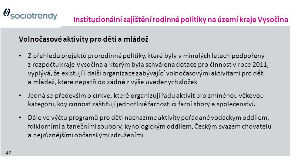 Institucionální zajištění rodinné politiky na území kraje Vysočina Volnočasové aktivity pro děti a mládež Z přehledu projektů prorodinné politiky, kte