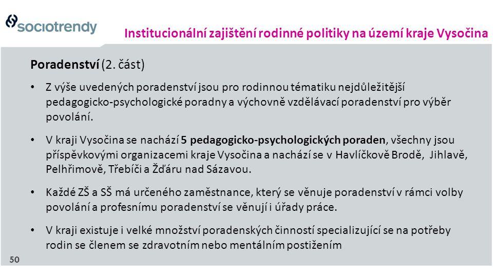 Institucionální zajištění rodinné politiky na území kraje Vysočina Z výše uvedených poradenství jsou pro rodinnou tématiku nejdůležitější pedagogicko-psychologické poradny a výchovně vzdělávací poradenství pro výběr povolání.