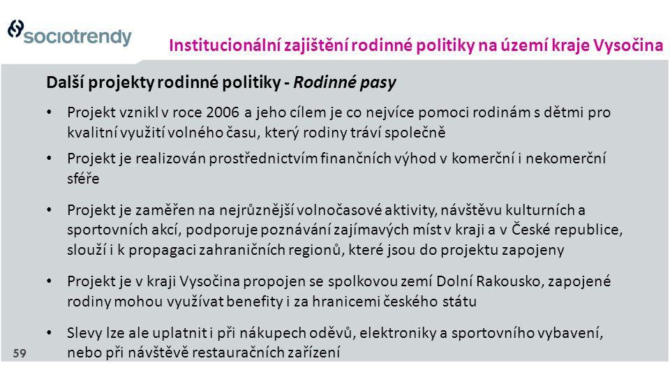 Institucionální zajištění rodinné politiky na území kraje Vysočina Další projekty rodinné politiky - Rodinné pasy Projekt vznikl v roce 2006 a jeho cí