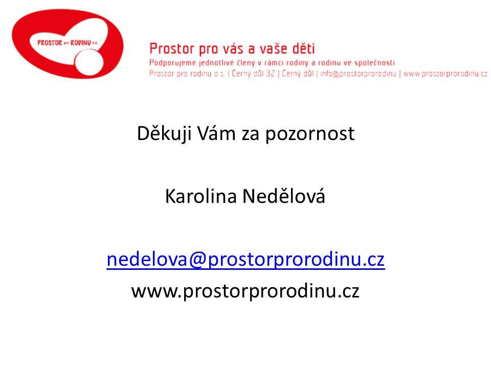 Děkuji Vám za pozornost Karolina Nedělová nedelova@prostorprorodinu.cz www.prostorprorodinu.cz