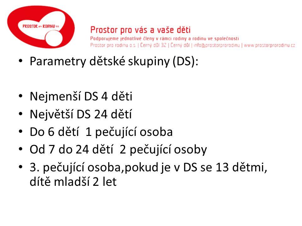 Parametry dětské skupiny (DS): Nejmenší DS 4 děti Největší DS 24 dětí Do 6 dětí 1 pečující osoba Od 7 do 24 dětí 2 pečující osoby 3.