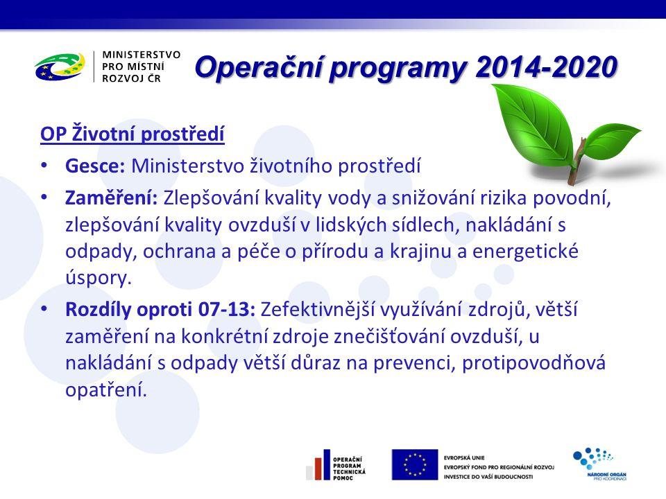 Operační programy 2014-2020 OP Životní prostředí Gesce: Ministerstvo životního prostředí Zaměření: Zlepšování kvality vody a snižování rizika povodní, zlepšování kvality ovzduší v lidských sídlech, nakládání s odpady, ochrana a péče o přírodu a krajinu a energetické úspory.