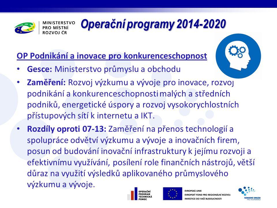 Operační programy 2014-2020 OP Podnikání a inovace pro konkurenceschopnost Gesce: Ministerstvo průmyslu a obchodu Zaměření: Rozvoj výzkumu a vývoje pro inovace, rozvoj podnikání a konkurenceschopnosti malých a středních podniků, energetické úspory a rozvoj vysokorychlostních přístupových sítí k internetu a IKT.