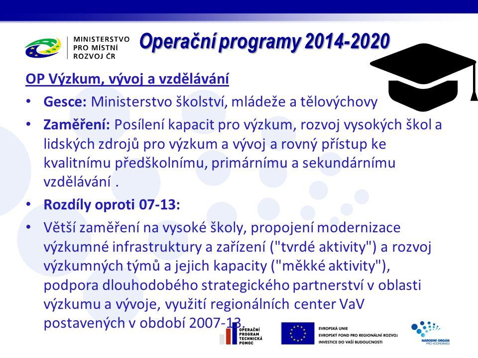 Operační programy 2014-2020 OP Výzkum, vývoj a vzdělávání Gesce: Ministerstvo školství, mládeže a tělovýchovy Zaměření: Posílení kapacit pro výzkum, rozvoj vysokých škol a lidských zdrojů pro výzkum a vývoj a rovný přístup ke kvalitnímu předškolnímu, primárnímu a sekundárnímu vzdělávání.