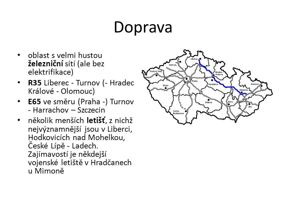 Doprava oblast s velmi hustou železniční sítí (ale bez elektrifikace) R35 Liberec - Turnov (- Hradec Králové - Olomouc) E65 ve směru (Praha -) Turnov - Harrachov – Szczecin několik menších letišť, z nichž nejvýznamnější jsou v Liberci, Hodkovicích nad Mohelkou, České Lípě - Ladech.