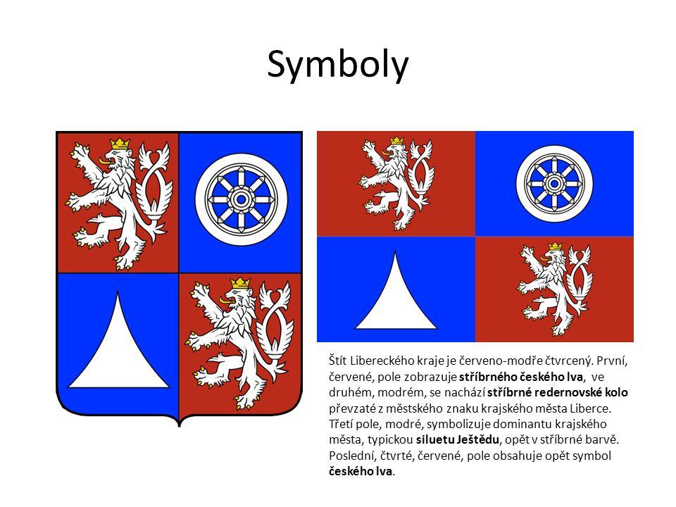 Symboly Štít Libereckého kraje je červeno-modře čtvrcený.