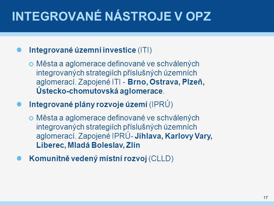 INTEGROVANÉ NÁSTROJE V OPZ 17 Integrované územní investice (ITI) Města a aglomerace definované ve schválených integrovaných strategiích příslušných územních aglomerací.