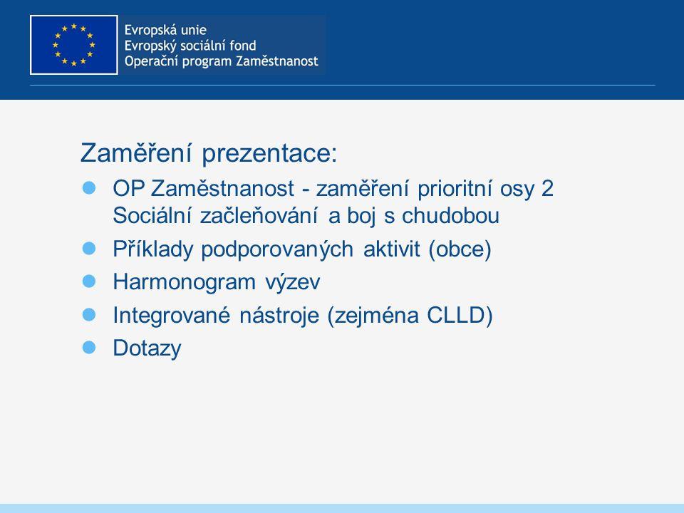 Zaměření prezentace: OP Zaměstnanost - zaměření prioritní osy 2 Sociální začleňování a boj s chudobou Příklady podporovaných aktivit (obce) Harmonogram výzev Integrované nástroje (zejména CLLD) Dotazy