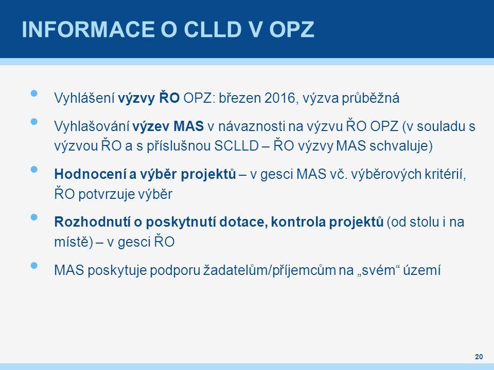 INFORMACE O CLLD V OPZ Vyhlášení výzvy ŘO OPZ: březen 2016, výzva průběžná Vyhlašování výzev MAS v návaznosti na výzvu ŘO OPZ (v souladu s výzvou ŘO a s příslušnou SCLLD – ŘO výzvy MAS schvaluje) Hodnocení a výběr projektů – v gesci MAS vč.